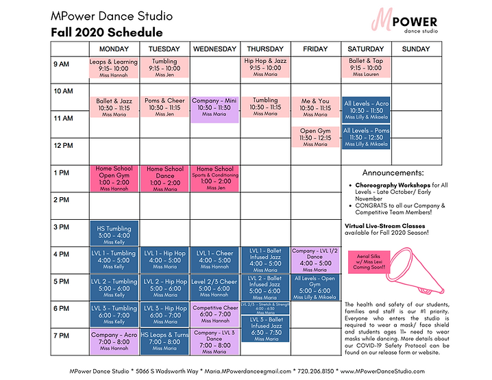 Fall 2020 Schedule - MPower Dance Studio