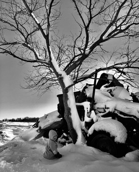 Winter Scene Featuring Baby with Decaying Combine with Tree