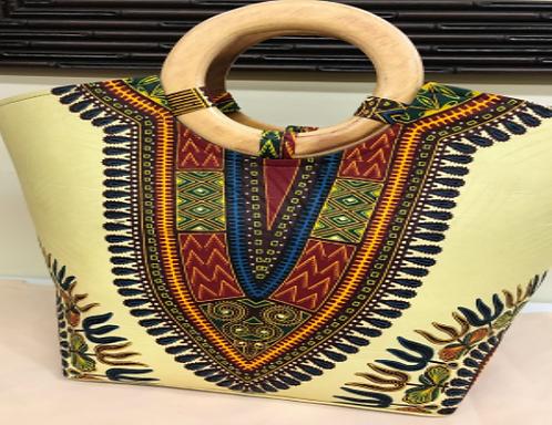 Pale Yellow Dashiki handbag