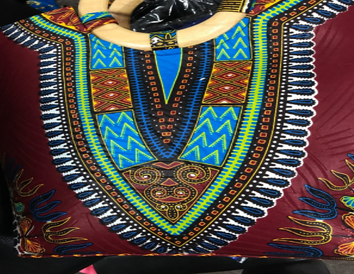 Burgandy  Dashiki handbag