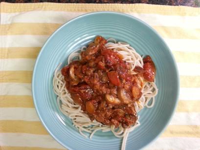 Mushroom Bolognese with Gluten Free Spaghetti