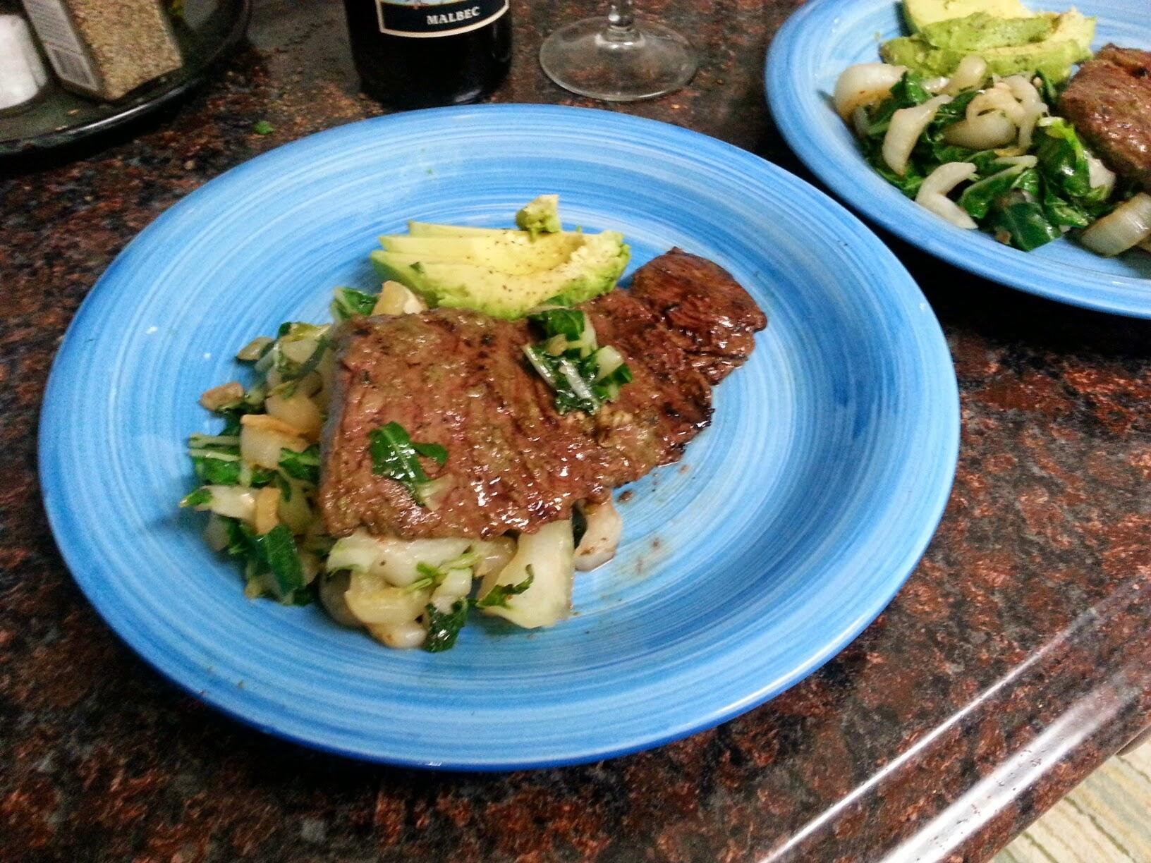 Green marinade over skirt steak