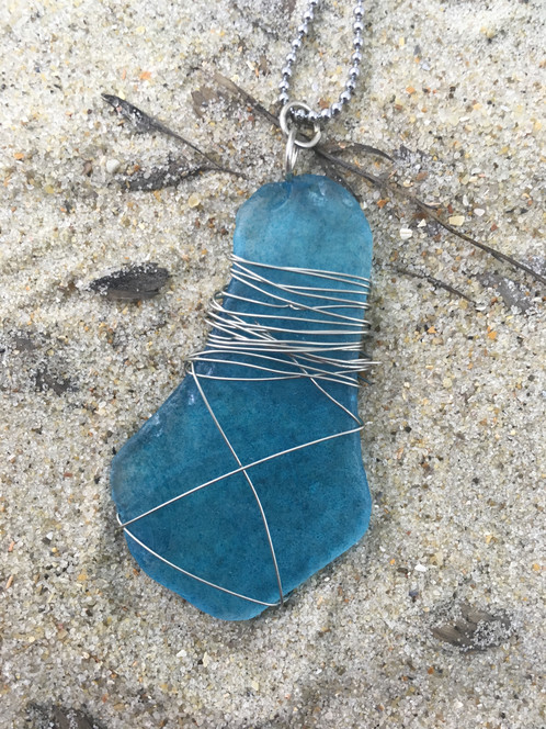 Lantern Wire-wrapped Seaglass Necklace