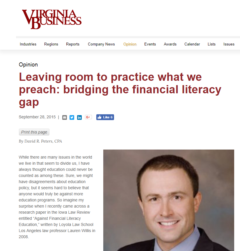 Virginia Business Magazine (9/28/15)