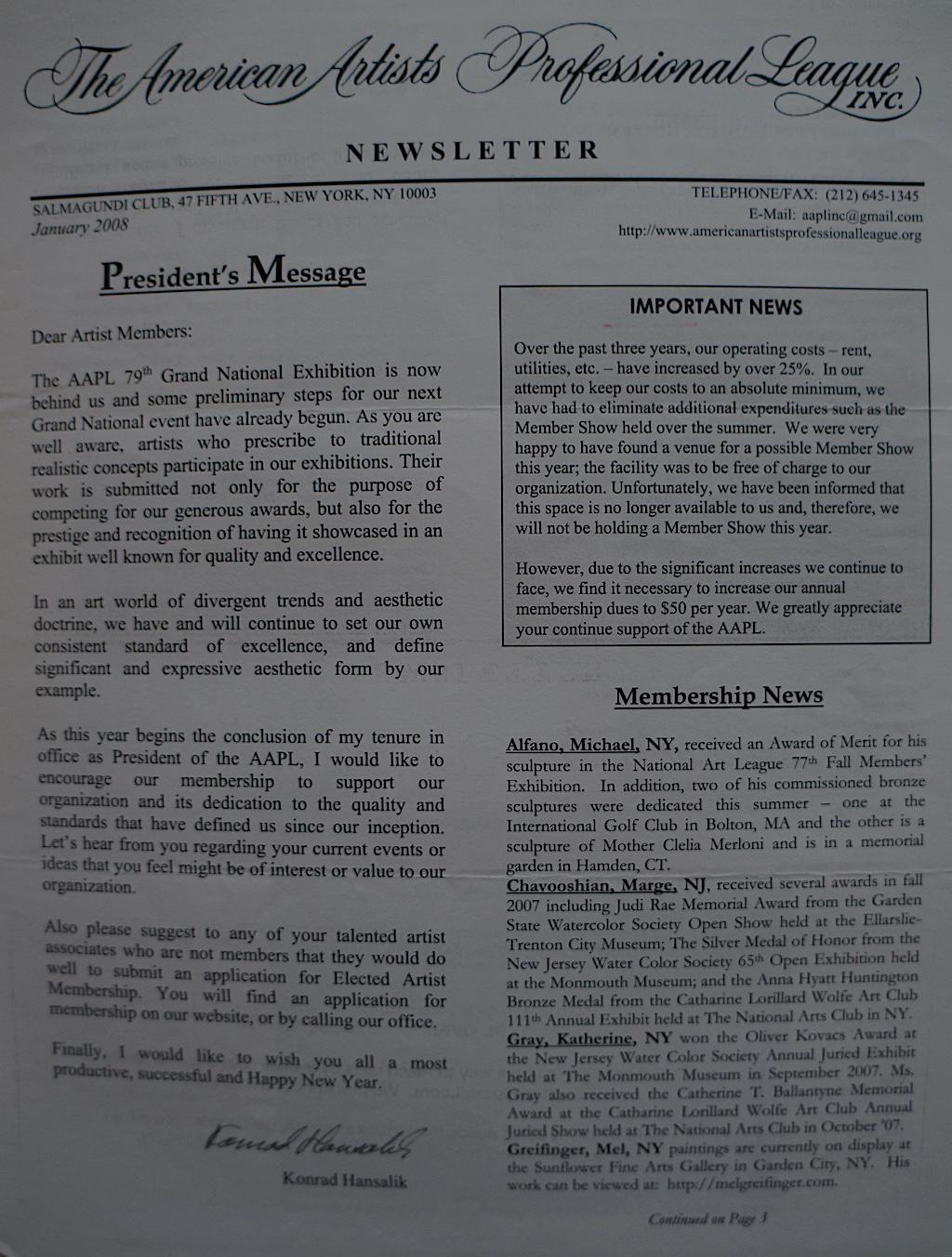 AAPL Newsletter Jan. 2008-01