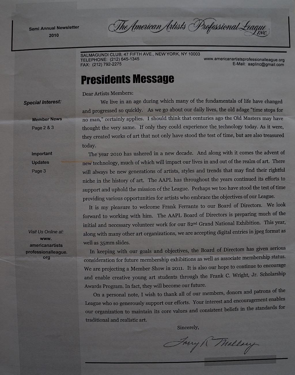 AAPL Newsletter Semi Annual 2010-01