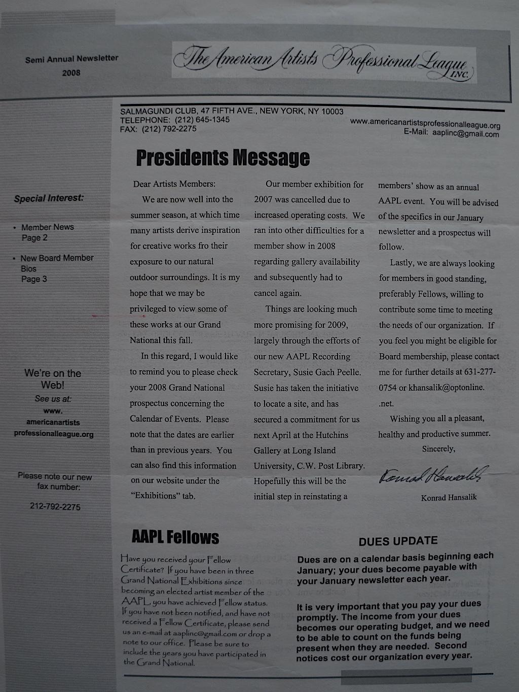 AAPL Newsletter Semi Annual 2008-01