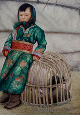 《薄雾轻雪晓清初》(牧人的小孩和她的小羊之二)