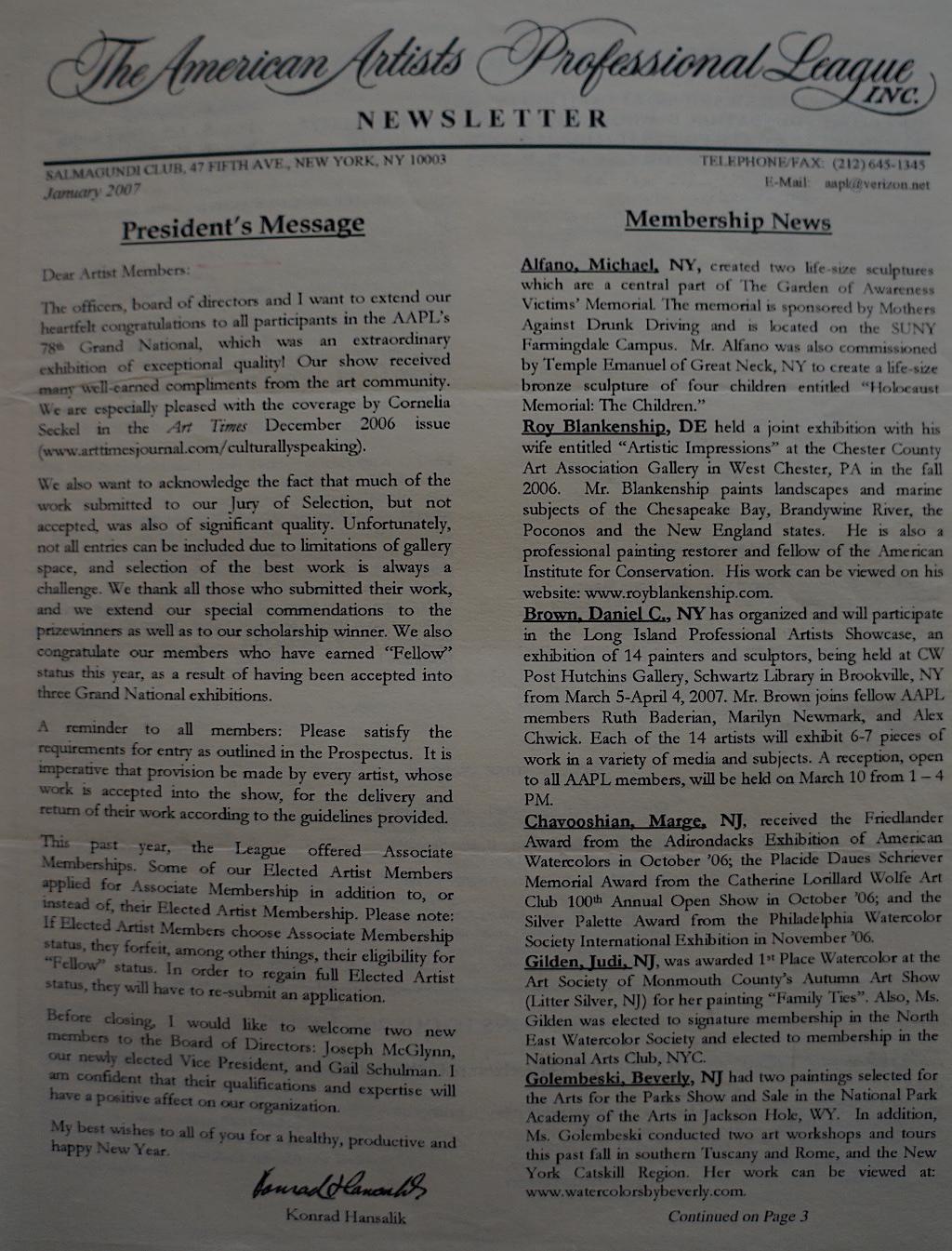 AAPL Newsletter Jan. 2007-01