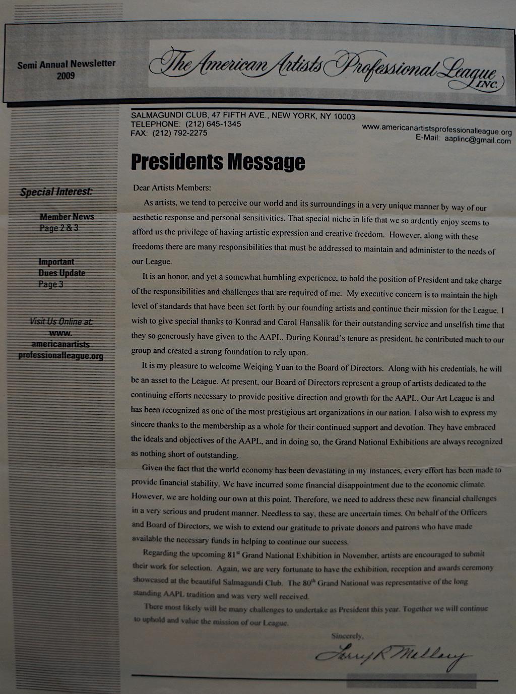 AAPL Newsletter Semi Annual 2009-01