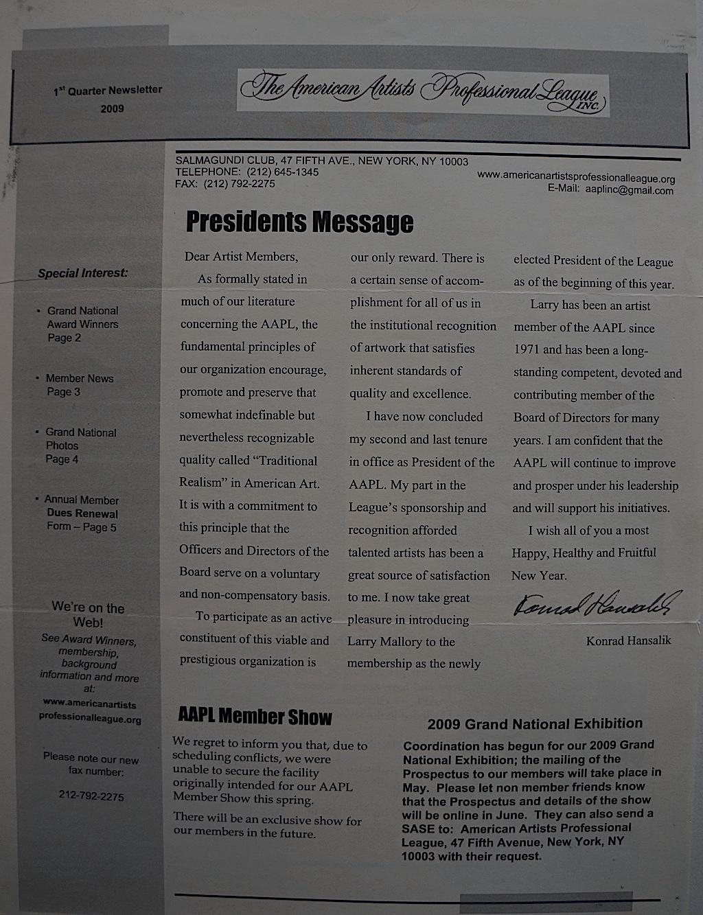 AAPL Newsletter 1st Quarter 2009-01