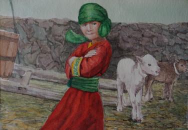 Shepherd Child with Her Calf