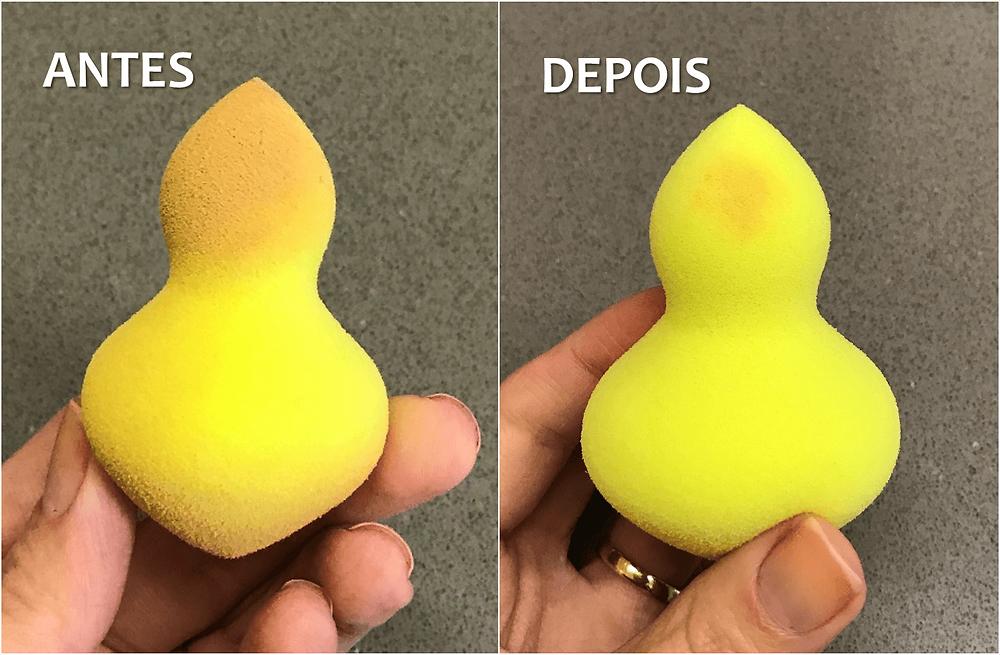 antes e depois da limpeza da esponja no micro-ondas