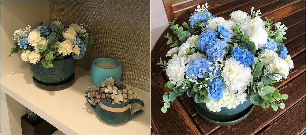 Buque de hortênsias azuis e brancas - artificiais