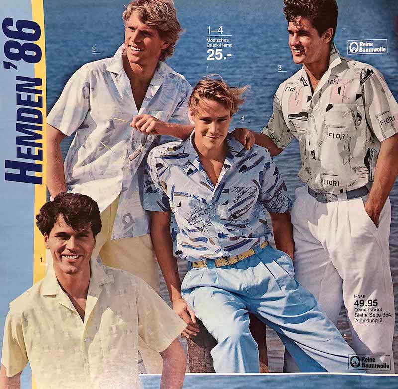 Men's fashion, Quelle catalogue Summer 1986