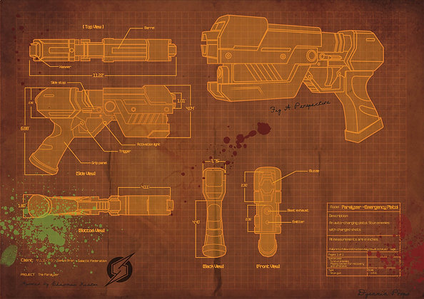Samus Paralyzer gun Blueprint poster