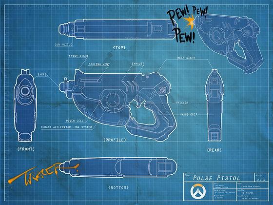 Tracer's Gun Blueprint poster 13 x 19