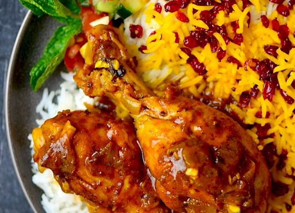 Persian Barberry Rice with Chicken (Zereshk Polo Ba Morgh)
