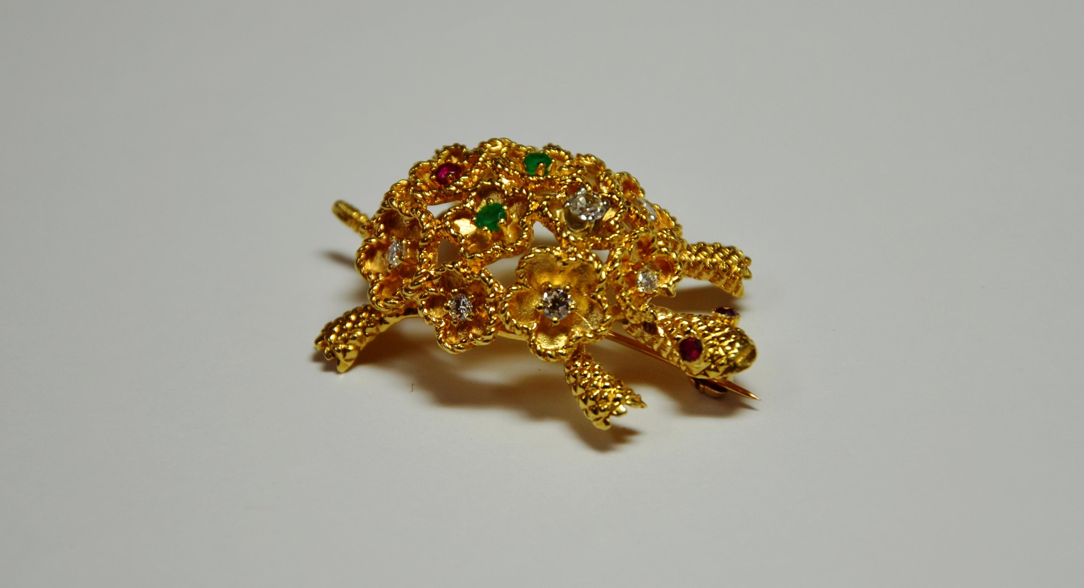 18k Diamond, Emerald & Ruby Turtle B