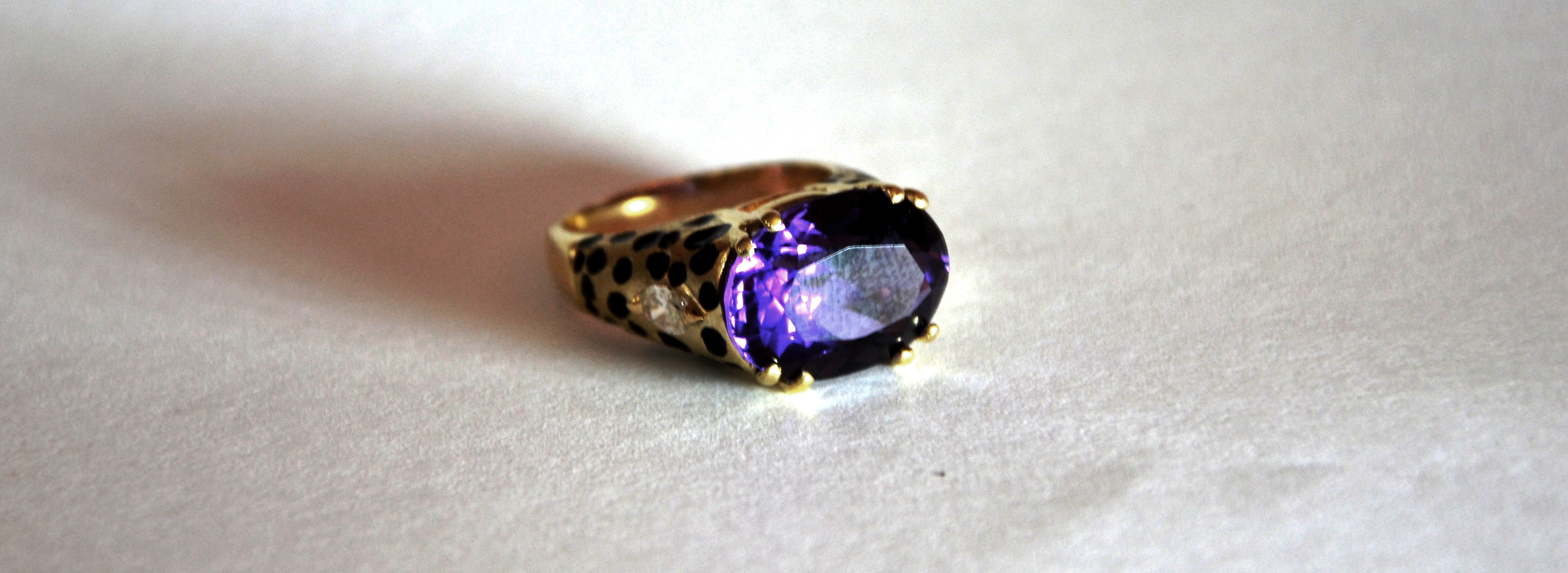 Custom 14k Diamond & Amethyst Ring