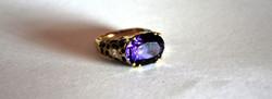 Custom 14k Diamond & Amethyst Ring