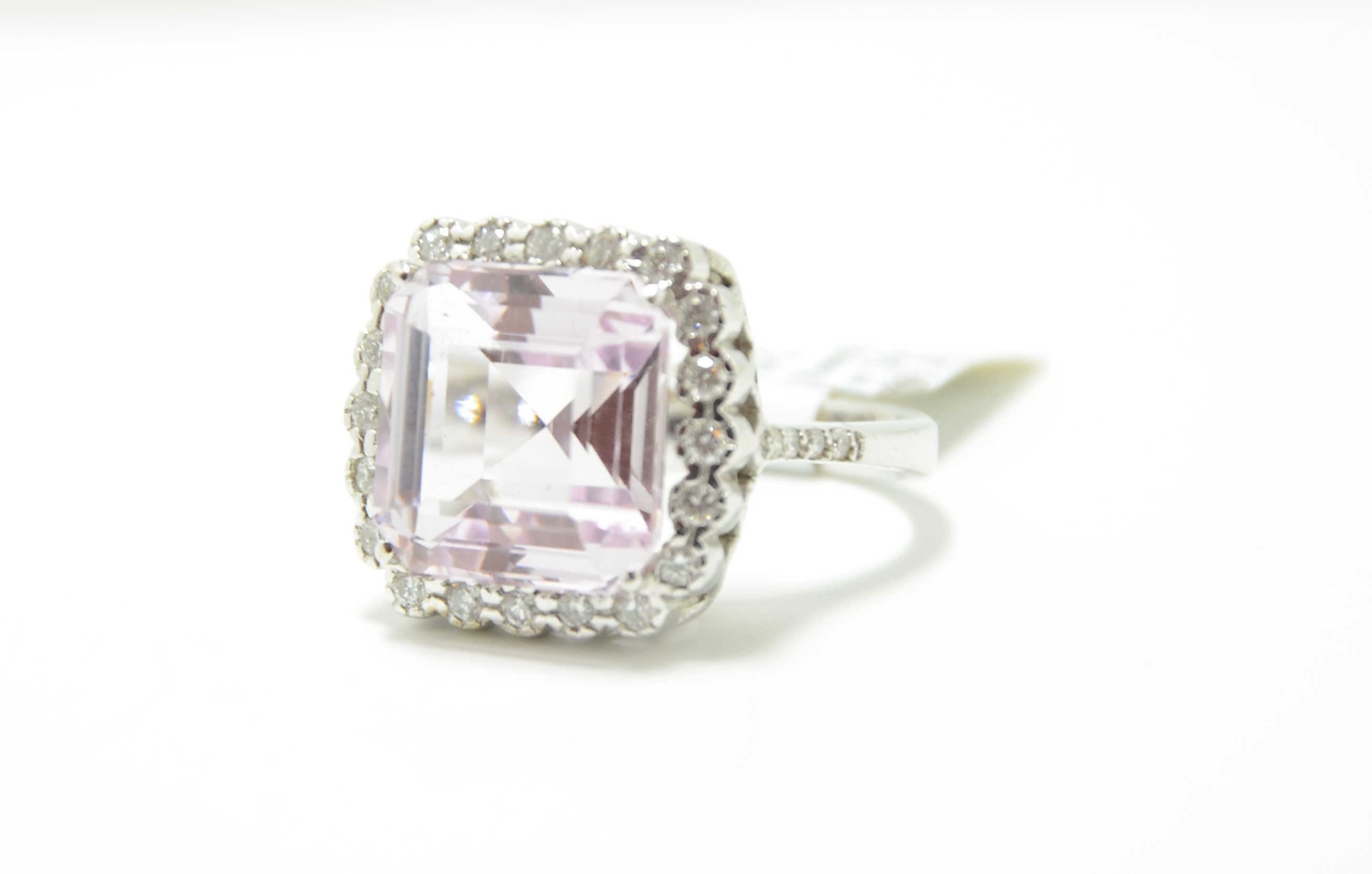 18k Kunzite & Diamond Ring