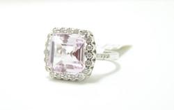 18k Kunzite & Diamond Ring