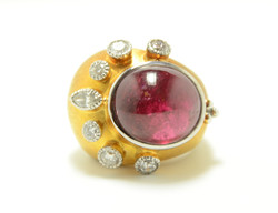 Custom 14k Diamond & Tourmaline Ring