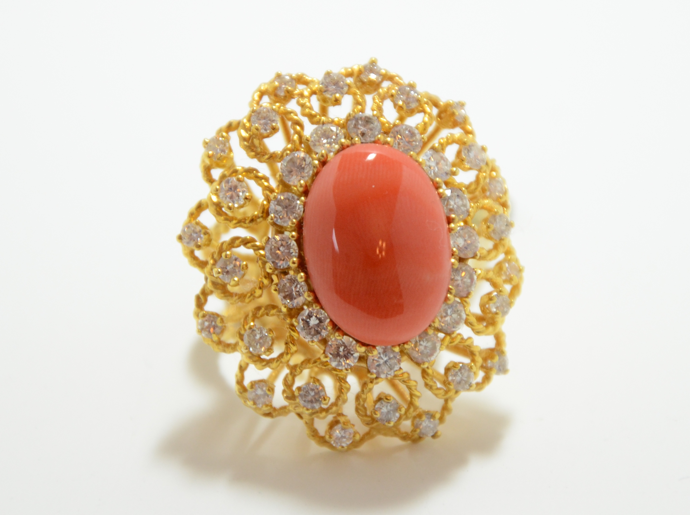 14k Diamond & Coral Ring