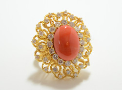 14k Diamond & Coral Ring