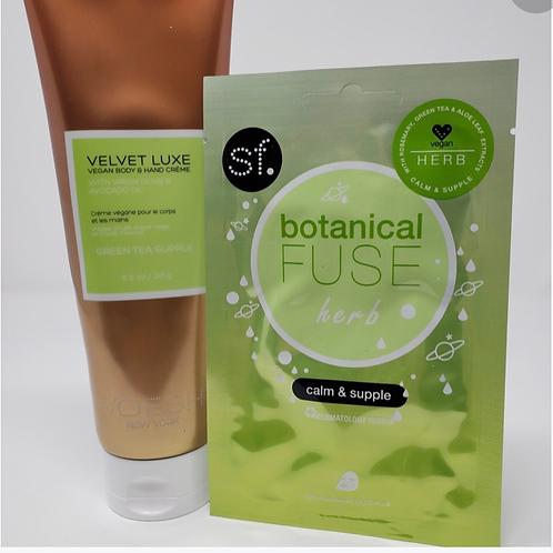 SF Botanical Fuse Green Tea Face Mask & Voesh Green Tea Body Lotion 8.5oz