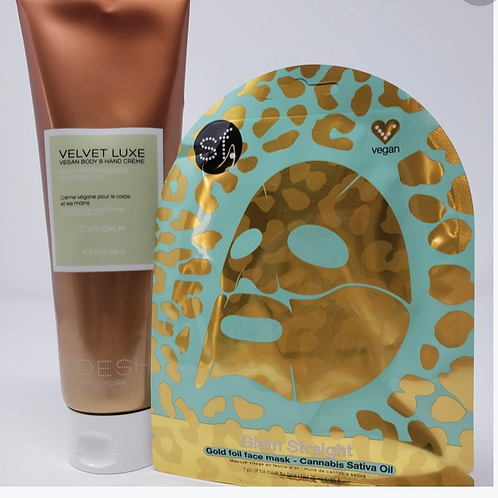 NEW Glam Straight Cannabis Sativa Gold Foil Face Mask & Voesh CBD Body Lotion 8.