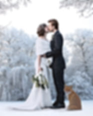 Beautiful wedding couple on their winter