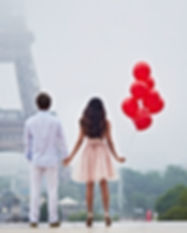 Romantic Couple With Red Balloons Togeth