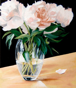 SOLD   Peonies, Water and Glass