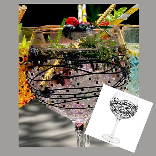Black & White Swirl Gin Glass