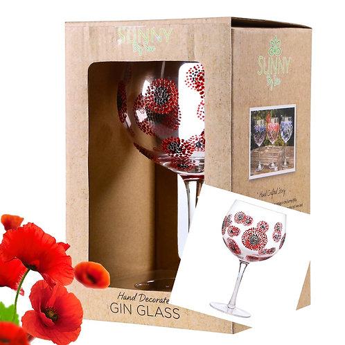 Poppy Flowers gin glass