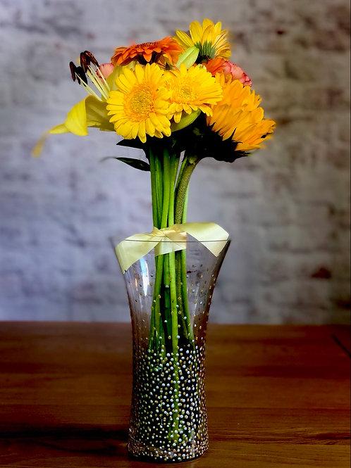 Sparkling Gold & Silver Dotty Vase