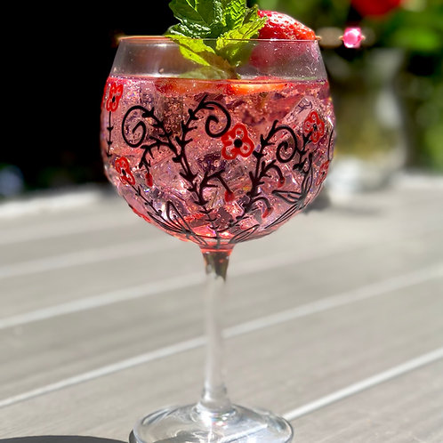 Red Rambling Rose gin glass