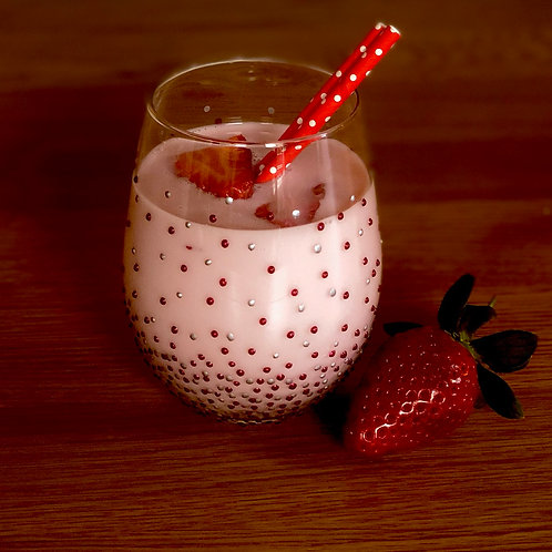 Sparkly Crimson & Silver Dot Stemless Glass
