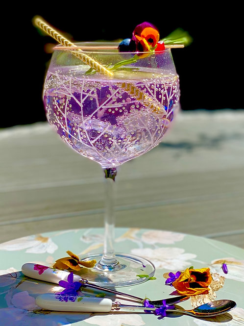 Iridescent Flower Gin Glass