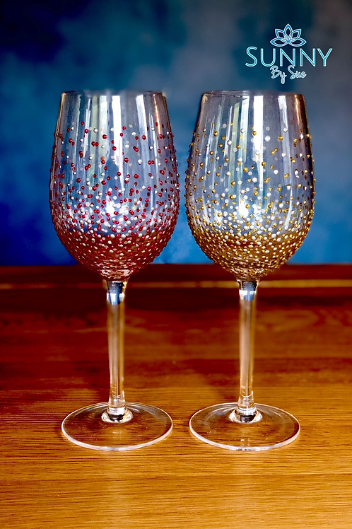 Glitter Gold and Silver Wine Glass