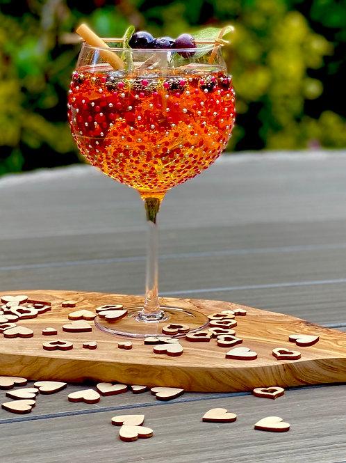 Crimson & Silver Dotty Gin Glass