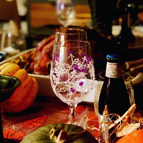 Scottish Thistle Wine Glass