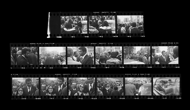 A contact sheet of Ali touring Chinatown. Final image features Ali and Louis Farrakhan in a convertible.