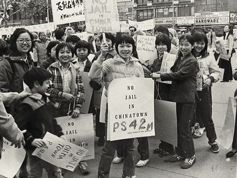 Students from PS 42 protesting the building of a jail in Chinatown, NYC