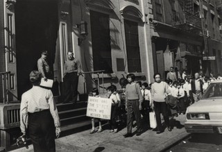 Schoolchildren from the Transfiguration School march on 5th Precinct, October 18, 1984