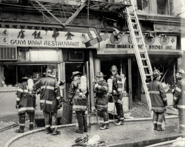 Firefighters at 17 East Broadway, date unknown