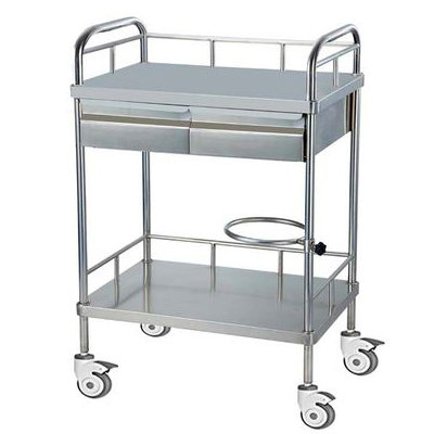 TROLLEY 2-SHELF 2-DROW S/STEEL - TIANJIN