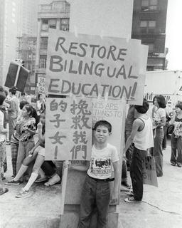 Protest to restore bilingual education in public schools, date unknown